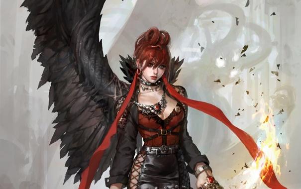 Фото обои девушка, пламя, крыло, демон, ошейник, разные глаза, гетерохрмия