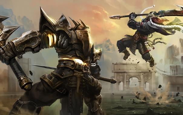 Фото обои бой, арт, воины