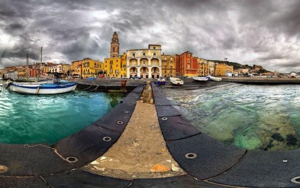 Фото обои вода, фото, лодка, здания, дома, дорожка, архитектура