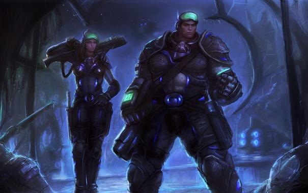 Фото обои оружие, Девушка, корабли, мужчина, броня