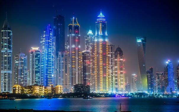 Фото обои night, dubai, building