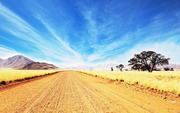 Фото обои дорога, небо, облака, голубое, горизонт, саванна, африка