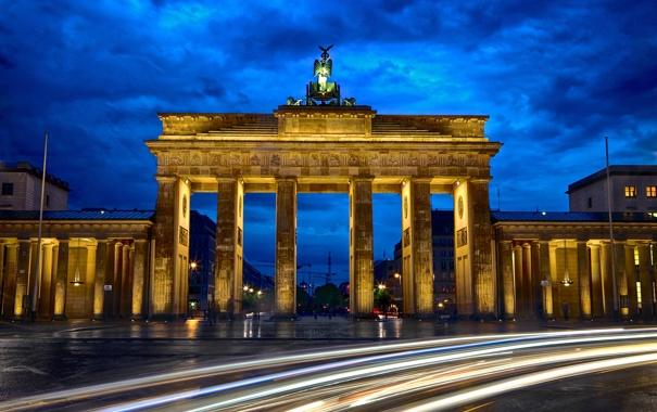 Фото обои дорога, ночь, город, выдержка, Германия, архитектура, Germany