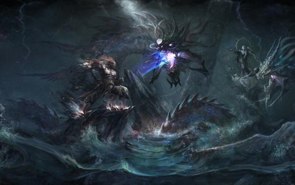 Фото обои вода, скалы, драконы, арт, цепь, монстры, битва