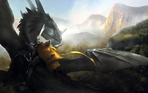 Фото обои дракон, арт, всадник, копье