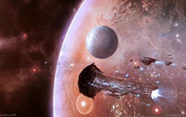 Фото обои космос, звезды, планета, корабли, астероиды, eve online, флотилия