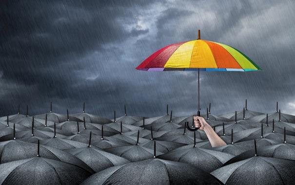 Фото обои umbrella, darkness, hope, gray, cheerful bright colors