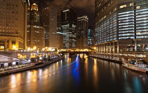 Фото обои ночь, огни, небоскребы, Чикаго, USA, США, Америка