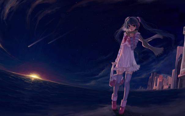 Фото обои девушка, закат, вечер, аниме, вокалоид, мику