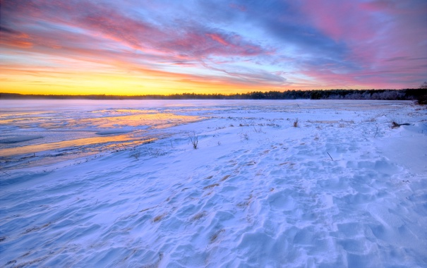 Фото обои зима, небо, облака, снег, закат, озеро