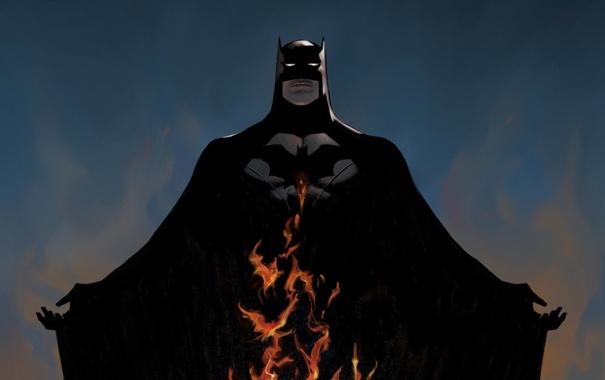 Фото обои поза, пламя, костюм, Бэтмен, Batman, DC Comics
