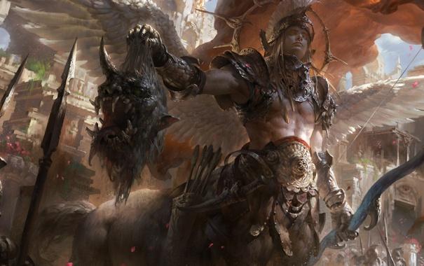 Фото обои крылья, голова, лук, чудовище, стрелы, кентавр