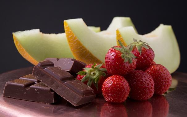 Фото обои шоколад, клубника, дыня