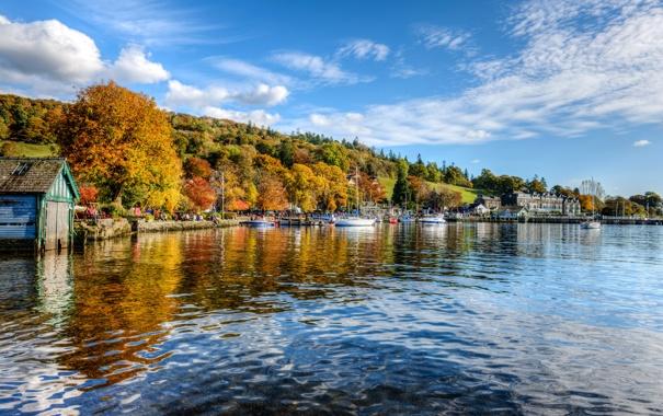 Фото обои небо, деревья, река, люди, лодка, англия, яхта