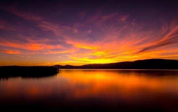 Фото обои пейзаж, закат, горы, природа, озеро, силуэт