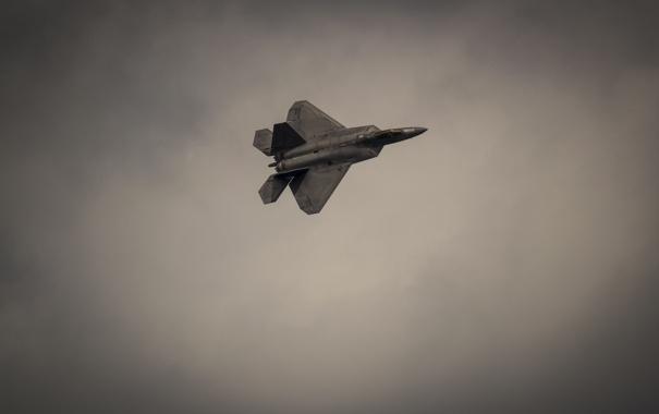 Фото обои небо, полет, война, истребитель, F-22, Raptor, стелс