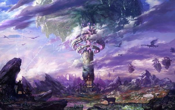 Фото обои облака, лучи, пейзаж, город, камни, скалы, магия