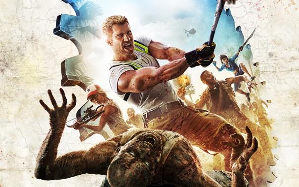 Фото обои пальма, огонь, бой, драка, зомби, удар, zombie