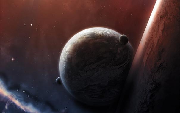 Фото обои космос, звезды, туманность, планеты, тень, атмосфера, спутники