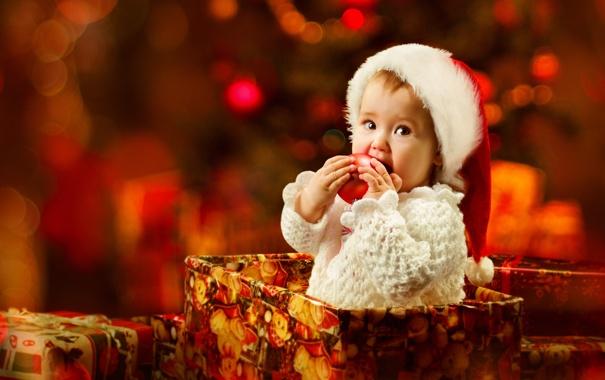 Фото обои взгляд, праздник, коробка, шапка, новый год, ребенок, Рождество