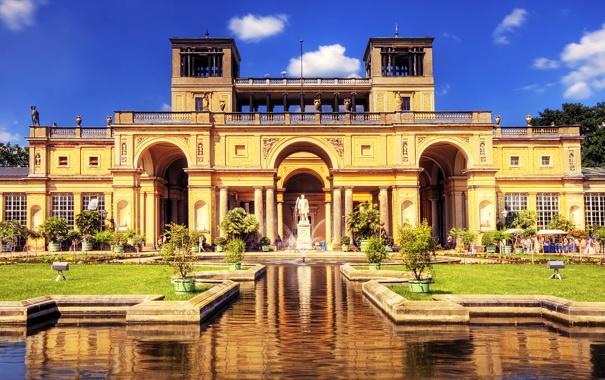 Фото обои газон, Германия, памятник, фонтан, дворец, Potsdam