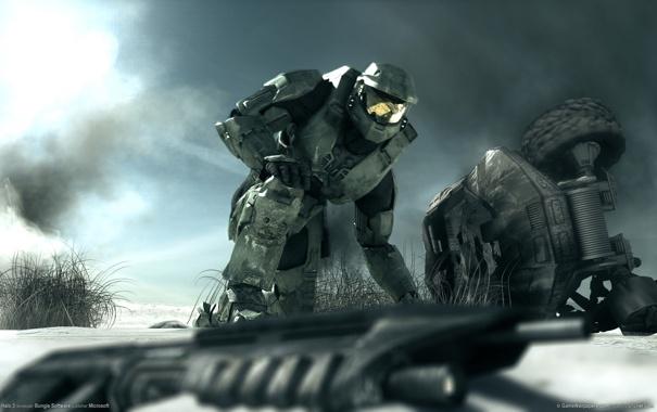 Фото обои оружие, microsoft, halo 3, master chief