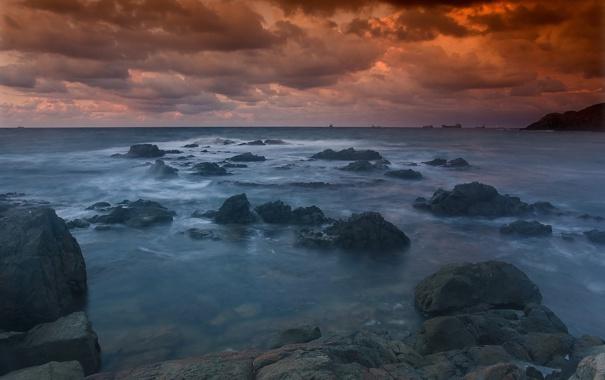 Фото обои закат, камни, море