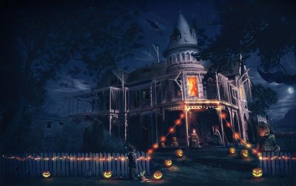 Фото обои дом, мальчик, арт, Хэллоуин, Helloween
