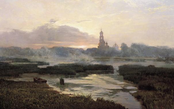 Фото обои закат, река, лодка, картина, церковь