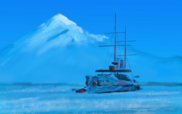 Фото обои горы, морской пейзаж, корабль, картина