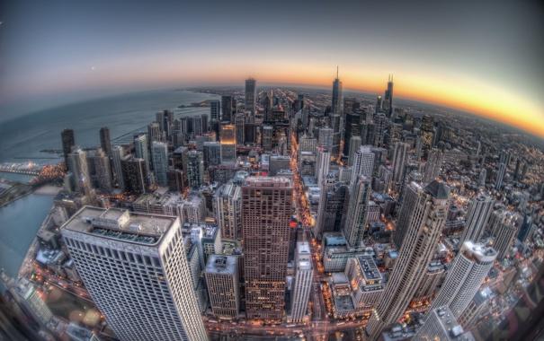 Фото обои закат, здания, Чикаго, Chicago, небоскрёбы