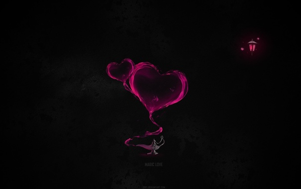 Фото обои темнота, сердца, фонарик, magic love