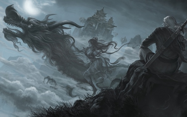 Фото обои девушка, облака, ночь, город, луна, дракон, азия
