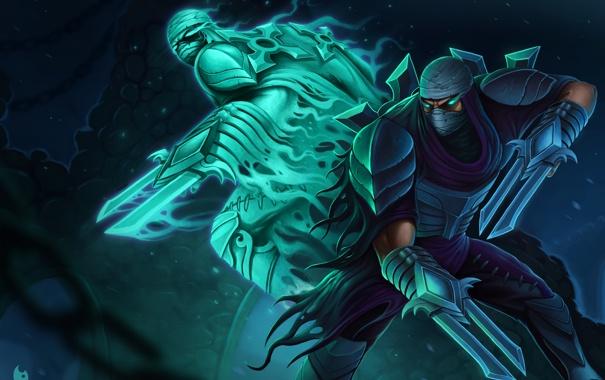 Фото обои оружие, дух, воин, маска, арт, клинки, League Of Legends
