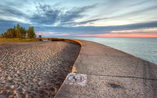 Фото обои море, пляж, небо, облака, закат, природа