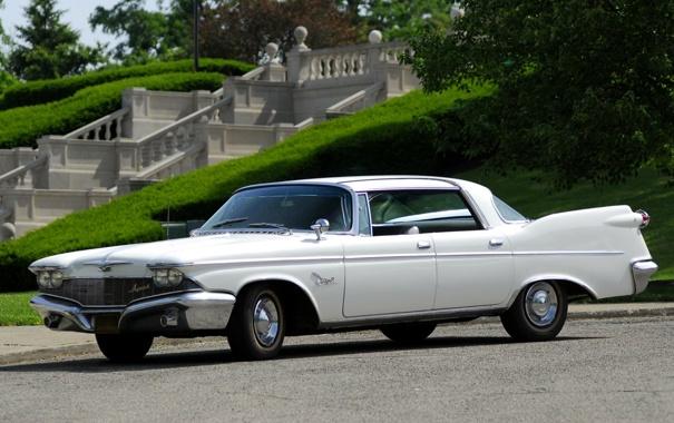 Фото обои белый, трава, деревья, парк, Imperial, Chrysler, 1960