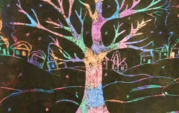 Фото обои зима, ночь, дерево, дома, радуга, деревня