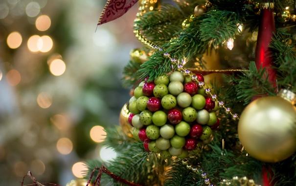 Фото обои шарики, бусы, ёлка, украшение