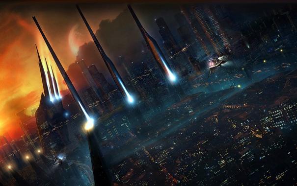 Фото обои лучи, закат, город, огни, корабль, дома, небоскребы