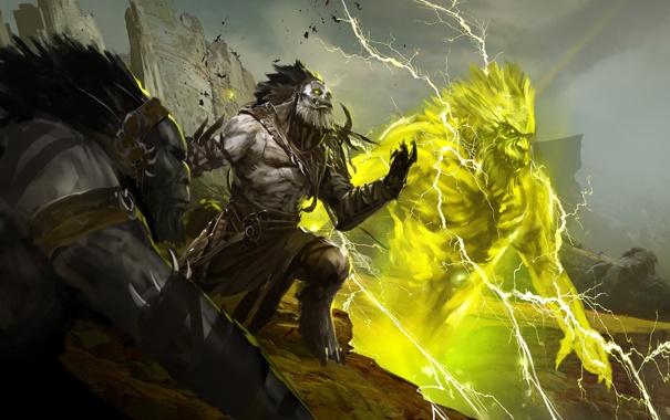 Фото обои горы, молнии, дух, воин, Guild Wars 2, тролль