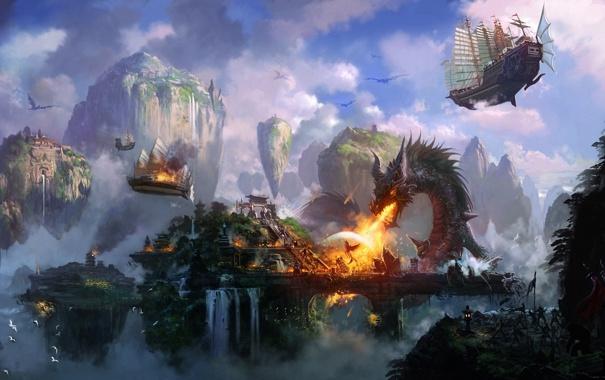 Фото обои горы, город, скалы, огонь, птица, дракон, водопад