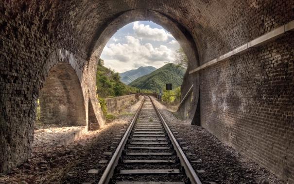 Фото обои пейзаж, природа, железная дорога