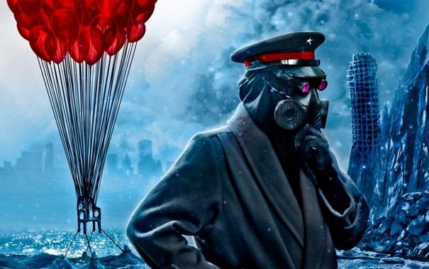 Фото обои воздушные шары, арт, стул, противогаз, капитан, льдины, руины