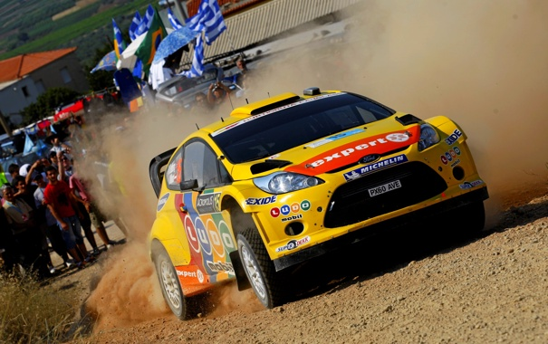 Фото обои Ford, Авто, Желтый, Спорт, Форд, Гонка, Капот