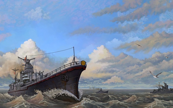 Фото обои море, волны, чайки, корабли, арт