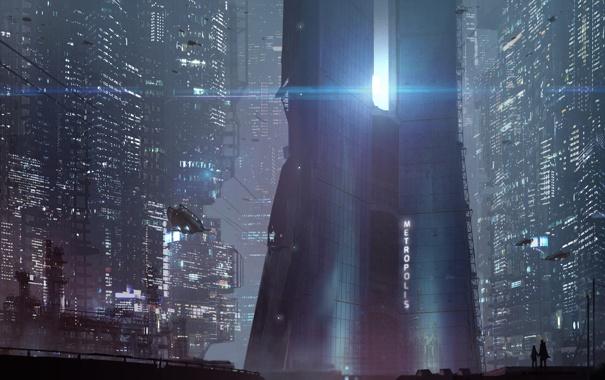 Фото обои ночь, город, будущее, небоскребы, metropolis