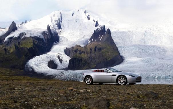 Фото обои снег, горы, Aston Martin, Roadster, Vantage, ледник, суперкар