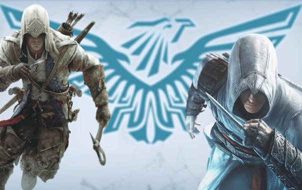 Фото обои лого, assassins creed, убийцы, Альтаир, Altair, Коннор, Connor
