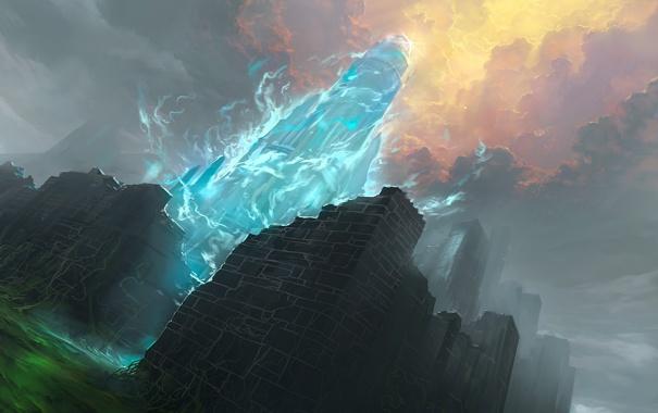 Фото обои тучи, заросли, магия, башня, арт, руины, призрачная