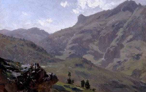 Фото обои Пиренеи, пейзаж, Карлос де Хаэс, Агуас Буэнас, природа, горы, картина